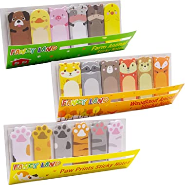 360 Cute Animal Sticky Notes 3 Sheets Farm Woodland Animal Page Flags Paw Prints Index Tabs Office School Christmas Thanksgiv