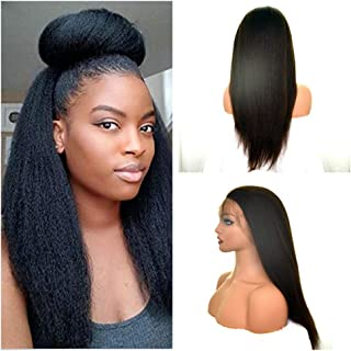 Everbetter Wigs Italian Yaki Full Lace Human Hair Wigs Pre Plucked Brazilian Virgin Human Hair Wigs with Baby Hair for Black Women (14