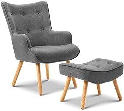 Artiss LANSAR Modern Armchair with Foot Stool in Drak Grey