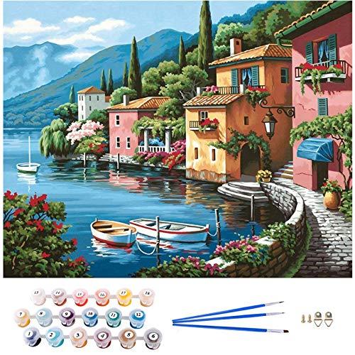 APERIL Måla efter nummer gör-det-själv kanvas oljemålning kit för vuxna nybörjare med färgborstar och akrylpigment – 40 x 50 cm utan ram (hus (utan ram))