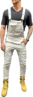 X-xyA New Men's Fashion Denim Bib Overalls Dungarees Jeans Jumpsuits with Multifunctional Pocket,White,XL