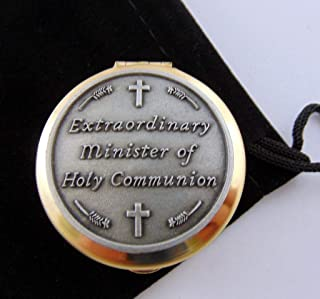 JWG Industries PYX with Extraordinary Minister of Holy Communion Stamped Design and Black Drawstring Burse