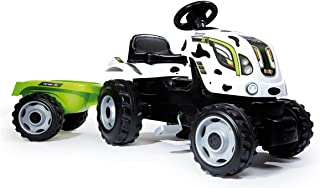 Smoby - Tractor Farmer XL Vaca con Remolque, Color Blanco (710113)