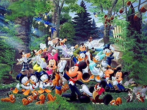 olwonow 1000 Piezas de Rompecabezas de descompresión súper Claro 75x50cm Mickey Mouse Juego de Rompecabezas para jóvenes