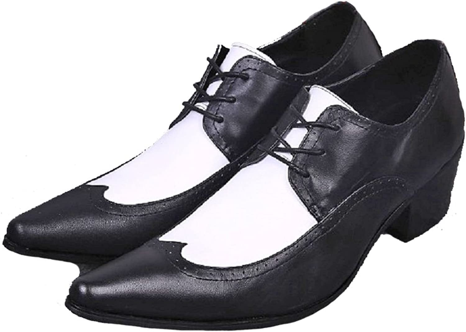 Cover Plus Size 5-12 New Two Toned Genuine Leather Dress Oxfords Mens shoes Black