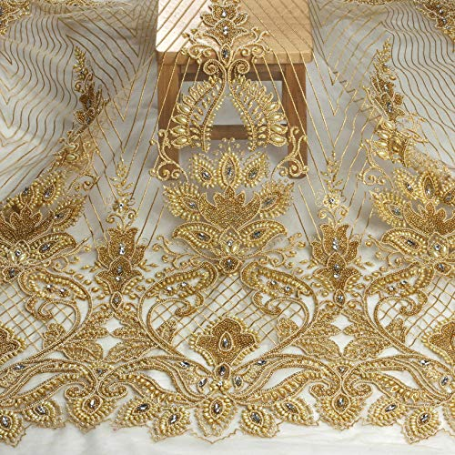 49' Ivory/Gold Heavy Handmade Beaded Crystal Dress lace Fabric by Yard (Gold)