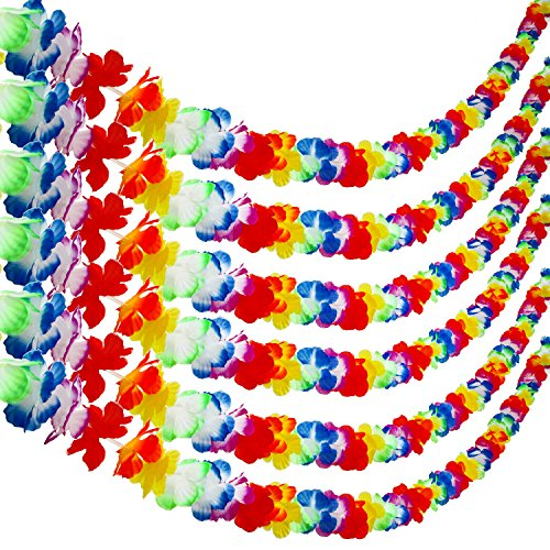 Aneco 6 Pack Colorful Hawaiian Luau Tropical Flower Lei Garland Party Decorations Hawaiian Tropical Party Supplies ,10 Feet Each