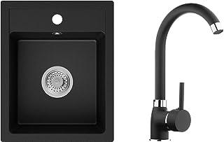 Spülbecken Schwarz 40 x 50 cm, Granitspüle  Küchenarmatur  Siphon, Küchenspüle ab 40er Unterschrank, Einbauspüle von Primagran