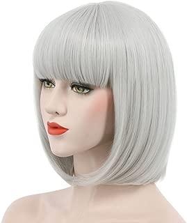 Karlery Women Short Straight Bob Fasion Wig Flat Bangs Cosplay Party Wig Costume Halloween Wig (Gray)
