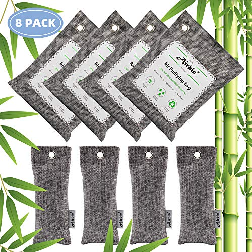 Airbin Bamboo Charcoal Air Purifying Bags (8 Pack), Activated Bamboo Charcoal Air Freshener, Natural Eco Friendly Eliminator Odors for Home, Pets, Litter Box, Shoes, Closet