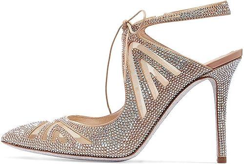 ZM-chaussures Couleur Strass Sandales Femmes été Bride Cheville Boucle Talon Aiguille Sexy à Bout Pointu Sandales Soirée Parties Mariage Chaussures 2019 Nouveau