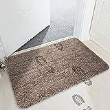 MAYSHINE Non-slip Doormat Cotton Door Mat Mud Dirt Trapper Mats Entrance Rug Shoes Scraper Floor Indoor - 45x75cm Camel & White