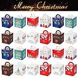 GWHOLE 24 Pz Scatole Regalo di Natale, Scatola Piccola di Natale Scatole di Carta per Biscotti di Caramelle Regalo di Natale per Bambini Decorazioni per Feste Natalizie Forniture