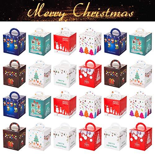 Gwhole 24 Bo?tes Cadeau No?l Motif Sapin Bonhomme de Neige Arbre de No?l pour Pomme Fruit Chocolat Bonbons Biscuits et Petits Cadeaux - 10 x 10 x 10 cm