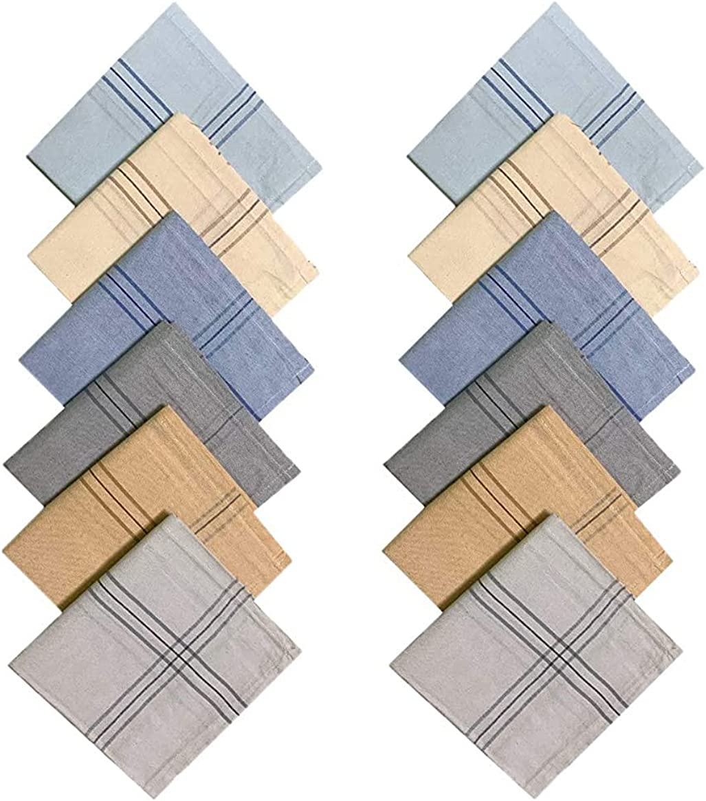 Kalagiri Cotton Premium Collection Multicolor Handkerchiefs Hanky Set For Men - Pack of 12