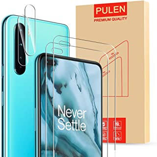 (4 in1) PULEN for OnePlus Nord Screen Protector 2 Packs with 2 Packs Camera Lens Protector, HD Clear Scratch Resistant Bub...