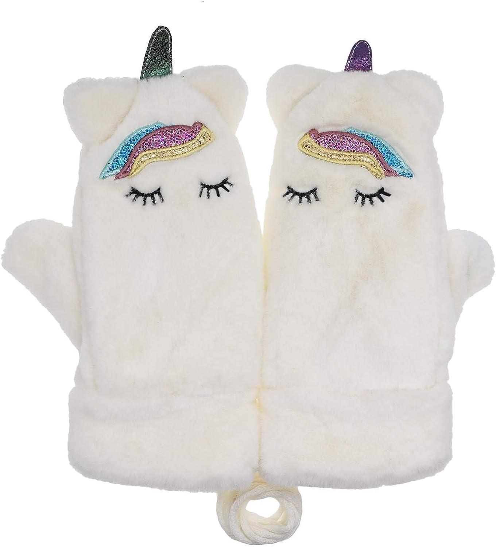 Women Girls Kids Unicorn Mitten Gloves Winter Warm Lining Cozy Knit Pluffy Fuzzy Faux Fur Mitten