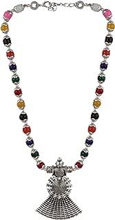 Boho Vintage Antique Ethnic Gypsy Tribal Indian Oxidized Silver Black Beaded Statement Tassel Pendant Necklace Jewelry