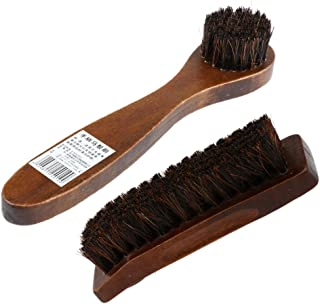 FITYLE 2x Long Wood Handle Bristle Horse Hair Brush Shoe Boot Polish Shine Cleaning
