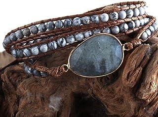 BXKEJI Bracelet jewelry handmade natural gemstone charm 3-strand wrapped bracelet gray