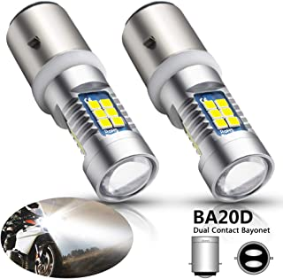 Boodlied 2x H6 BA20D Type 15W High Power 3030 Chips 21SMD LED Bulb 6000k~7000k Super White Turn Signal Fog HeadLight 6000~6500K 840LM (2-Pack)