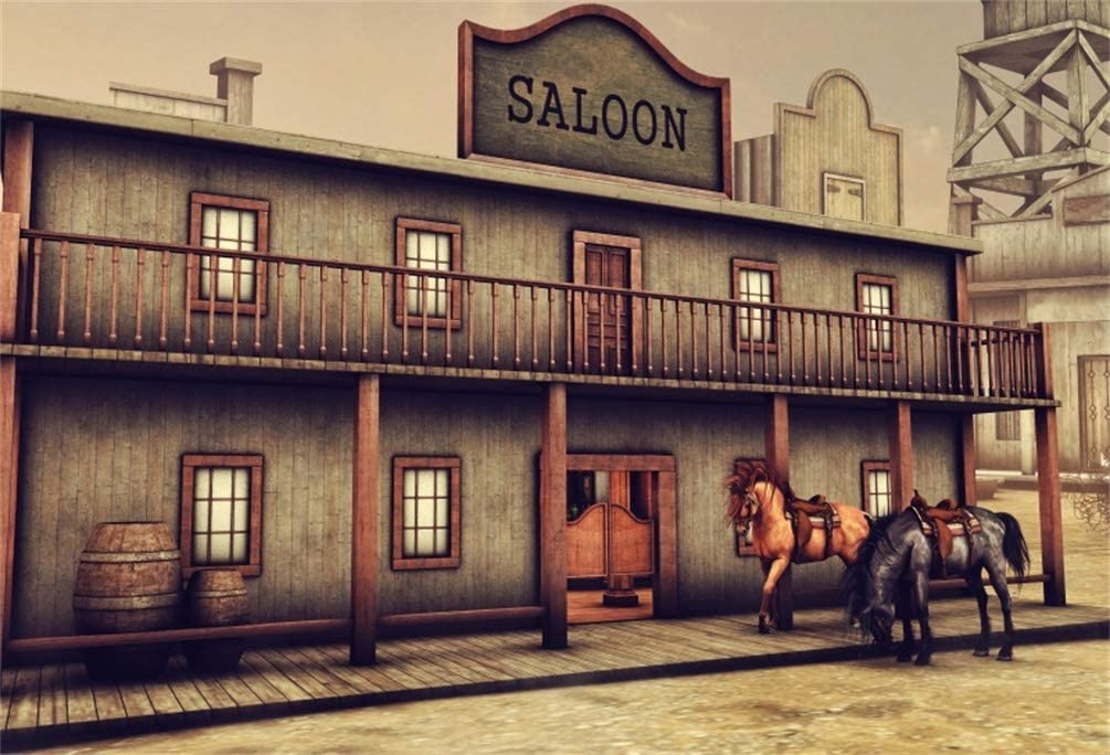 10x6.5ft Deserted Saloon Back Drop Western Cowboy Historic Old American Town Background Rum Tavern Exterior Photo Backdrop for Travel Portrait Party Photo Studio Props