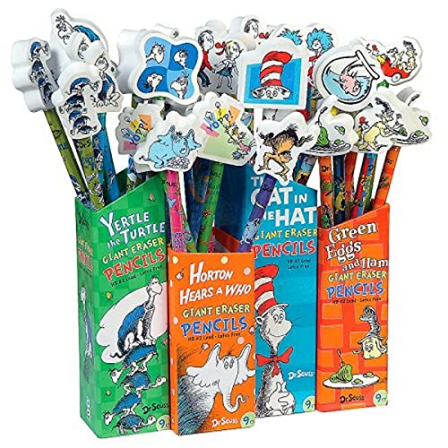 Raymond Geddes 66865 Dr. Seuss Number 2 Pencils With Giant Pencil Top Erasers (Pack of 36), One Size