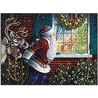 ナンバーキットの絵画DIYダイヤモンド、サンタクロースフル刺繍クリスマスDIYは家の壁の装飾のために設定クロスステッチ美術工芸サプライ絵画ドリル D-Round diamond