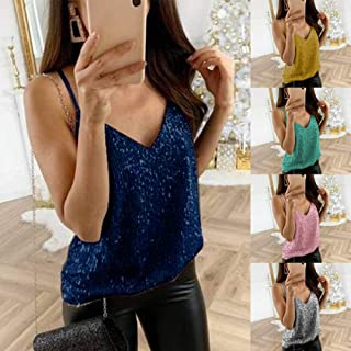 Tickas Sequin Tank Top,Women Summer Tank Top V Neck Sleevelss Strappy Nightclub Party Camisole Vest