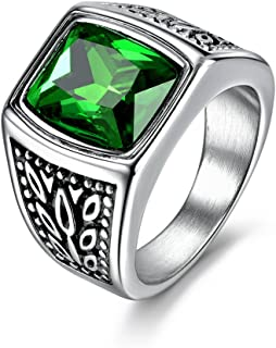 MASOP Jewelry Men's Stainless Steel Wide Identify Ring Green Emerald Color Square Stone