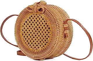 Sturdy Round Messenger Handbag Fashion Beach Handbag PU Shoulder Strap Adjustable Length Shoulder Handbag Hollow Hand-Woven Rattan Handbag Large Capacity (Color : Brown)
