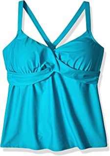 Coastal Blue Womens Plus Size Wrap Front Underwire Tankini Top