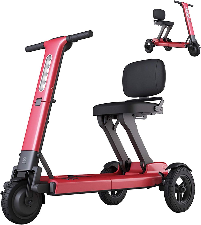 YF-Mirror Scooter de Movilidad eléctrico Plegable, Scooters de Movilidad eléctricos de Servicio Pesado, Scooters de Movilidad de 3 Ruedas Ligeros y de Largo Alcance con batería de Larga duración