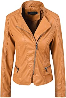 neveraway Women's Moto Fall Winter Lapel Leather Trench Coat PU Leather Jackets