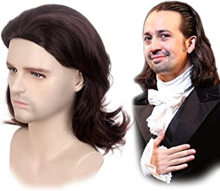 STfantasy Mens Brown Wig Wavy Mid Length Synthetic Hair for Male Cosplay Alexander Hamilton Costume