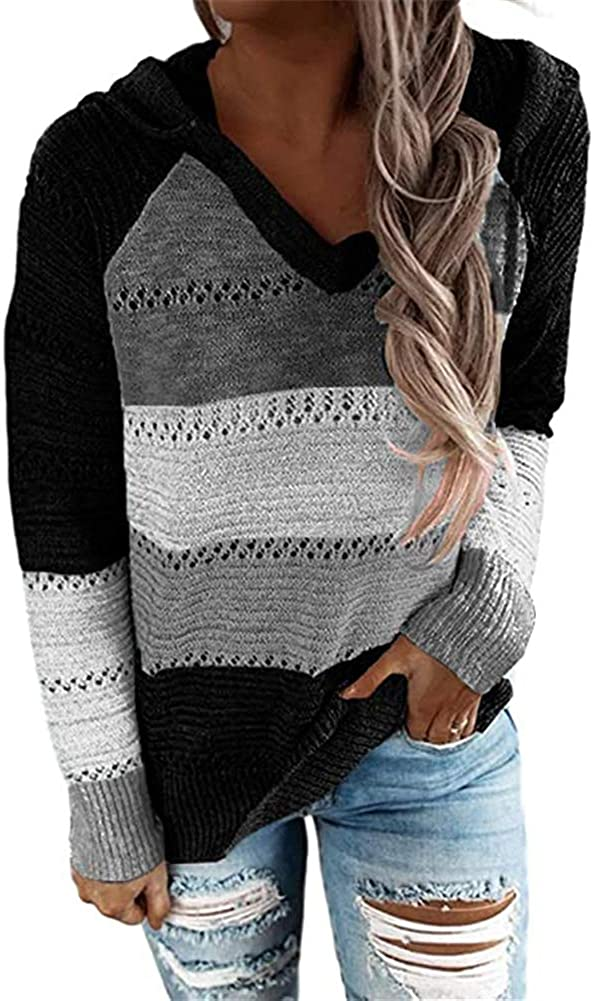 Womens Austin Mall Striped Cheap SALE Start Color Block Hoodies Long Casual Sweater Ho Sleeve