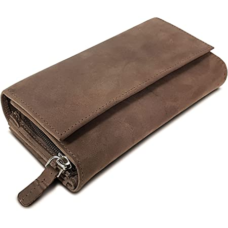 ROYALZ Vintage Leder Geldbörse für Damen Portemonnaie groß mit vielen Fächern RFID-Blocker Brieftasche Querformat, Farbe:Montana Braun