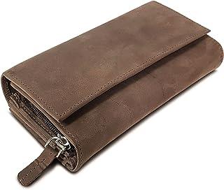 ROYALZ Vintage Leder Geldbörse für Damen Portemonnaie groß mit vielen Fächern RFID-Blocker Brieftasche Querformat, Farbe:M...