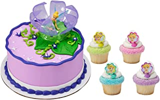 Tinker Bell in Flower Officially Licensed Cake Topper with 24 Tinker Bell Cupcake Topper Rings and 24 Assorted Spiral Candles