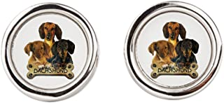 Royal Lion Cufflinks (Round) Dachshund Trio with Bone Name Plate