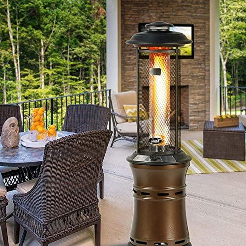 Binn Termoventilador Calentadores de Patio,Calefactor de Gas propano con Ruedas,Calentador de propano líquido for el Suelo for jardín Comercial Exterior Vertical Calefactor (Color : Copper)