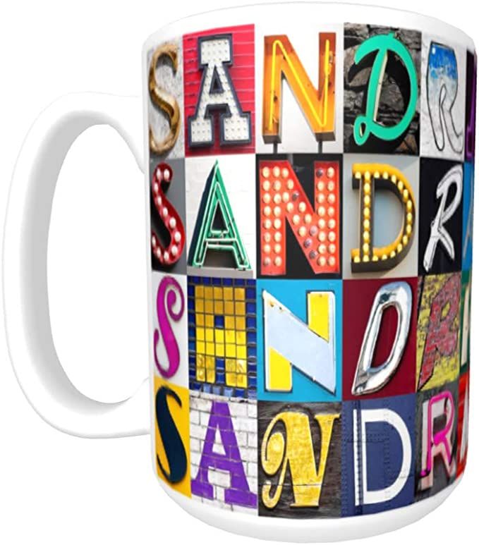 SANDRA Coffee Mug/Cup - using photos of sign letters