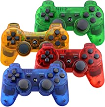 $43 » PS3 Controller Wireless, Gaming Remote Joystick for Playstation 3 with Charger Cable Cord (Orange, Red, Green, Blue)