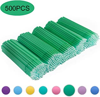 Quewel Lash 500 Pcs Disposable Micro Applicator Brush for Makeup Beauty Dental Brush for Oral 8 Colors 3 Size(2.5mm,2mm,1.5mm) (Dark Green,2mm)