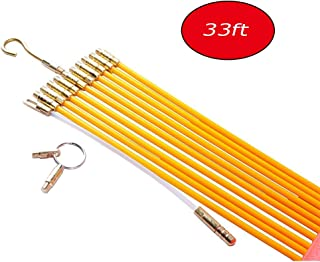 Wadoy 33FT Fiberglass Running Wire Cable - Snake Wire Fiberglass Rod Kit Electrical Fish Tape Pull Push Kit