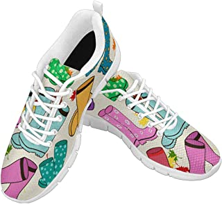 Zenzzle Womens Running Shoes Colorful Gumboots Print on Casual Lightweight Athletic Sneakers Size US6-12