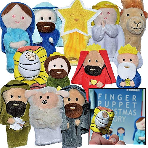 'The Nativity' - Finger Puppet Set [12-Pack] - Includes Storybook [Birth of Jesus] - Great for Illustrating Bible Stories - Sunday School / Christmas Eve or Morning [Christian / Catholic Childr Gifts]