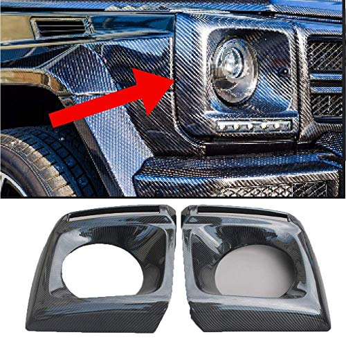 Brabus Style Carbon Fiber Headlight Frame Covers Mercedes G WAGON W463, G63, G65