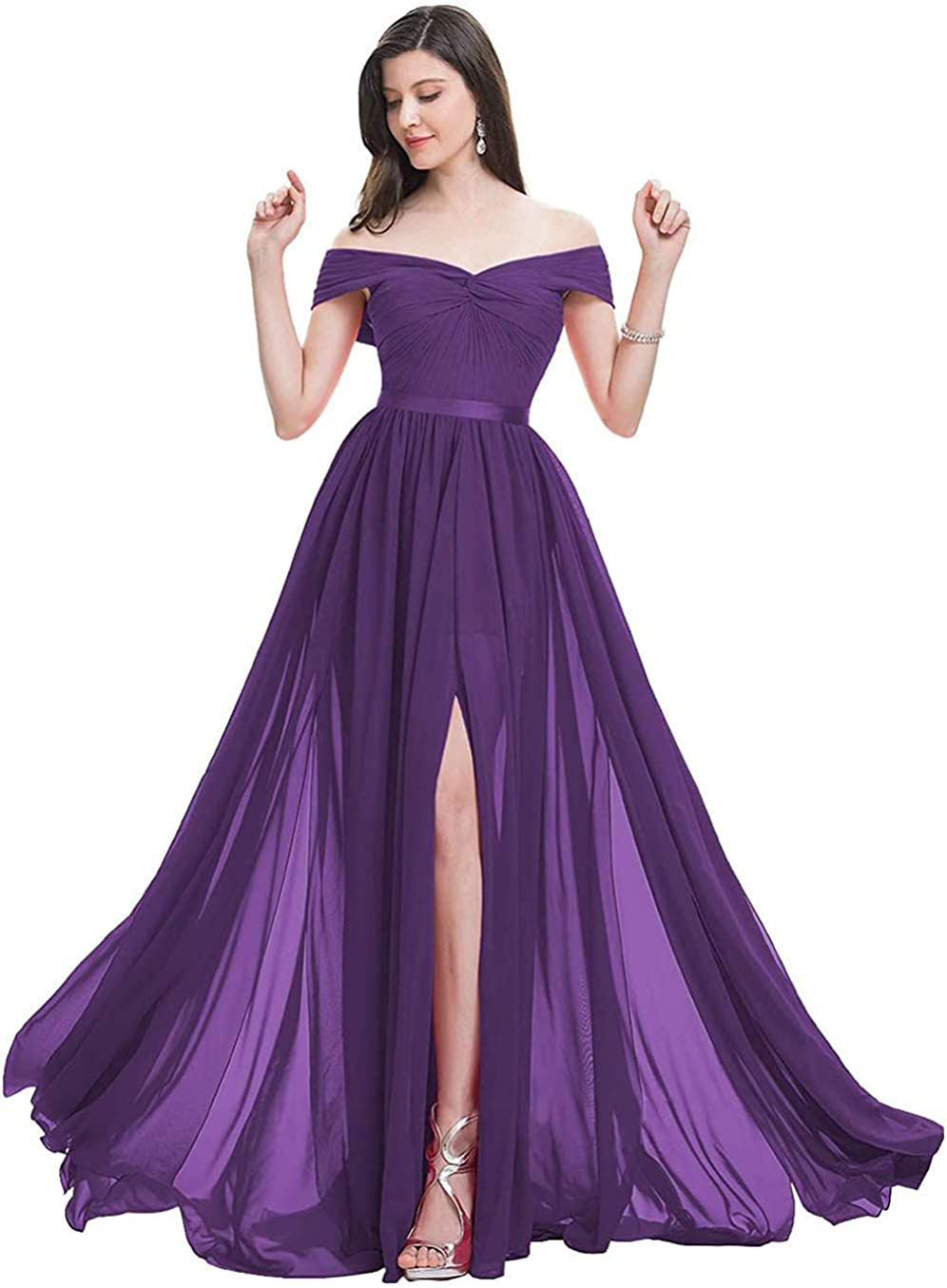 AKHOKA Women's Off Shoulder Bridesmaid Dresses Chiffon Slit Prom Formal Wedding Dress