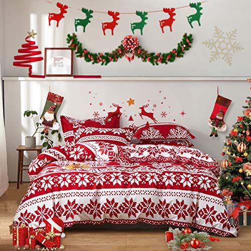 Uozzi Bedding Christmas Red Comforter Set with Red White Snowflake Holiday Style Reversible Down Alternative 800 TC Duvet for New Year Gift Choice
